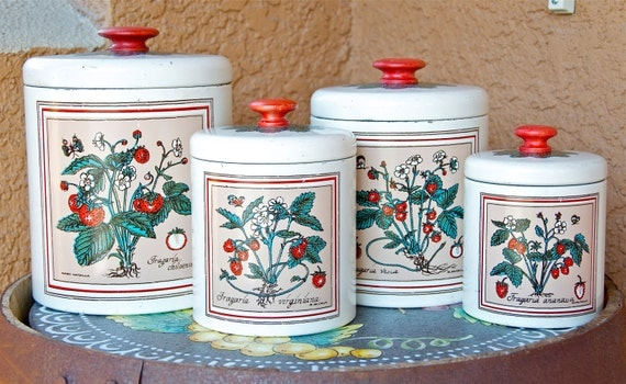 Vintage Bristol Ware tin canister set, 4 piece canister set, storage containers, strawberry motif.