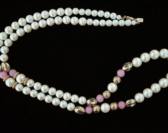 Faux Pearl Necklace Pink Goldtone Accents by 1928 Vintage Any Occasion