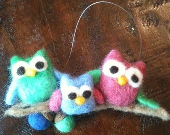 Needle felted, owl family Christmas ornament
