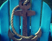 Wooden Anchor Sign with Rope Detail