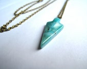 Gem Stone Arrowhead Charm Necklace Arrowhead Pendant Necklace Folk Jewelry Southwestern Necklace Native American Jewelry