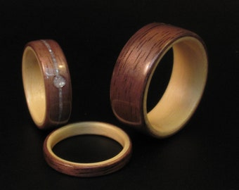 Handcrafted Walnut With Maple Interior Wooden Wedding Band Set
