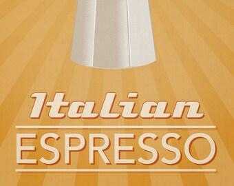 """Italian Espresso Coffee Print - Retro Home Decor Poster - 11x14"""""""