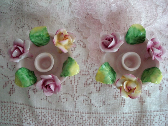 Vintage Artone Rose Candle Holders Hand Painted Shabby Cottage Chic
