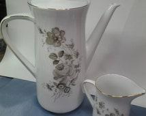 Johann Haviland Coffee Pot and Creamer, Brown Floral Design, MINT