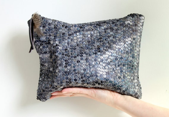 Sequin clutch, blue and gray sequin silk, evening bag