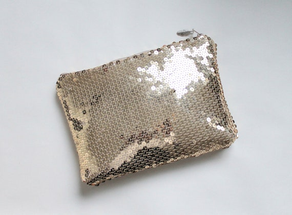 Gold sequin clutch, gold clutch, evening bag