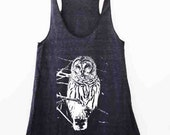 Lonely Owl Womens American Apparel Racer Back Tri Blend Black Tank available in XS, S, M, L