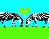 Zebra Love 18 x 12 Print - Blue and Green Zebra Prints Zebra Art Funky Art Valentines Zebras in Love Bright Colors Zebra Decal - Nixii Art