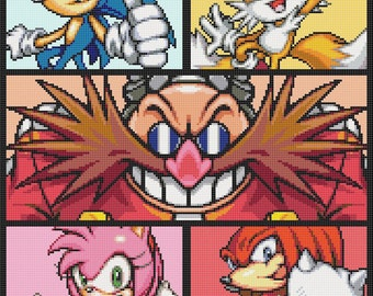 Sonic and Friends Cross Stitch Pattern
