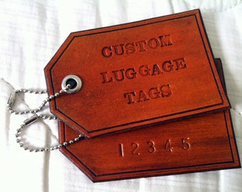 Custom Personalized Leather Luggage Tag: 1 single luggage tag, Hand Stamped Gift
