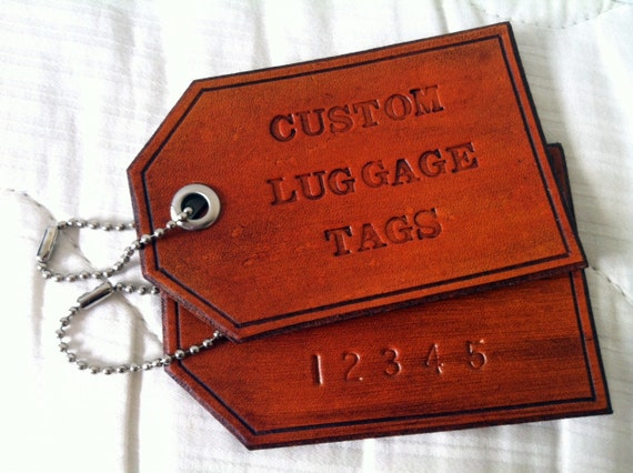 Custom Personalized Leather Luggage Tag: 1 single luggage tag