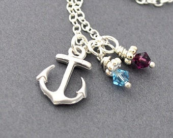 Personalized anchor necklace, Birthstone necklace, nautical, summer necklace, nautical jewelry