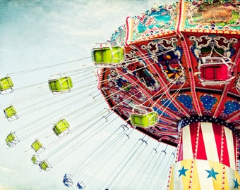 Amusement Park Photograph Swings Carnival Ride Colorful Large 16x24 Photograph large art Primary colors, red, yellow, blue, green