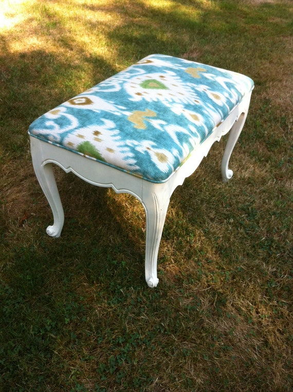 Patrick Bench in Annie Sloan Old White and Tilbury Lapis Ikat by Summerwind Interiors