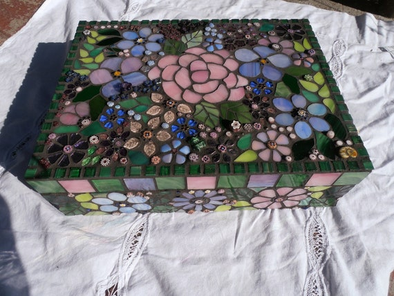 Mosaic Jewelry Box Keepsake Box in Stained Glass Floral Pink Blue & Violet, Large