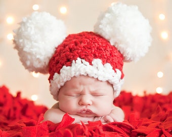 9 Sizes Christmas Hat Santa Hat Baby Hat Baby Girl Hat Baby Boy Hat Toddler Girl Toddler Boy Toddler Hat Pom Pom Hat Photo Prop Red White