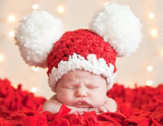 Baby christmas hat baby santa hat newborn baby girl hat for Cute baby christmas photo ideas