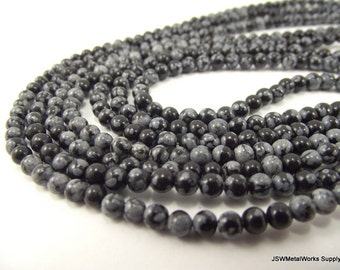 Snowflake Obsidian Round Beads, 4mm, 16 Inch Strand, Whole Strand