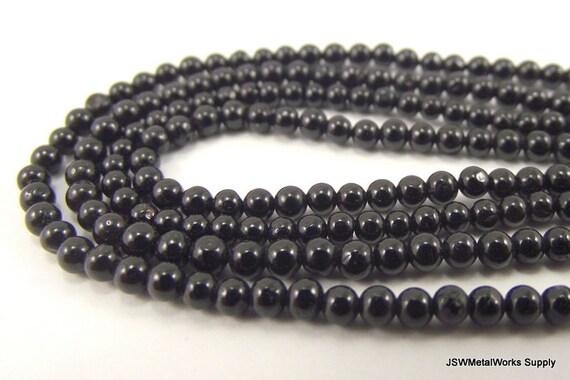 Black Tourmaline Round Beads, Hand-cut, 2-3mm, 14 Inch Strand, Whole Strand