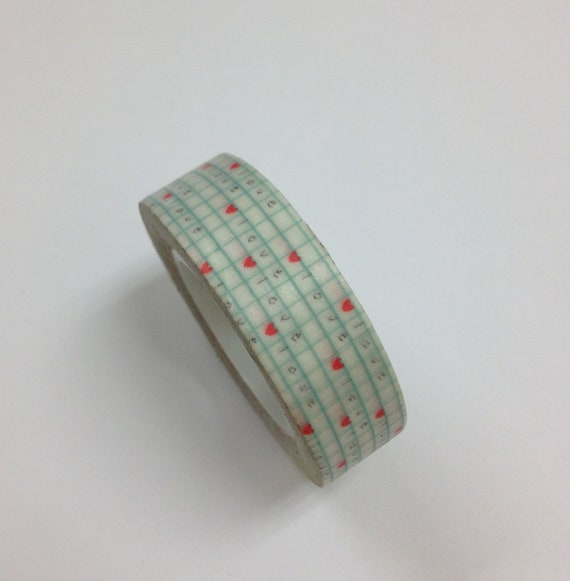 Japanese Washi Tape in Aqua Grids w/ Love and Hearts (15M long)
