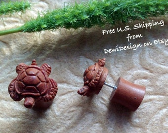 "Fake Gauge Plugs, ""Baby Sea Turtles"" Naturally Organic, Saba Wood, Hand Carved, Tribal"