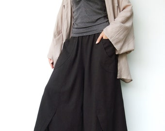 NO.41 Charcoal Brown Cotton Wide Leg Pants, Unique Pockets Capri Trousers, Women's Pants