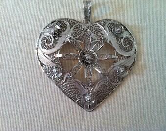 Vintage Silver Flligree Heart Pendant