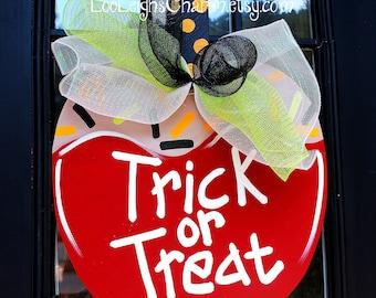 Halloween Door Hanger, Candy Apple, Halloween Door Decor