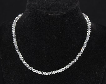 Sale Delicate Clear Czech Crystal Beaded Necklace