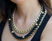 double row chain necklace with black braid and stud