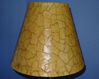 Tan Lampshade - Medium Decoupage Shade using Tan Handmade Paper