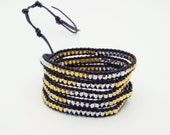 Wrap Bracelet  Black Leather - Square Silver & Gold Beads - Christmas Special