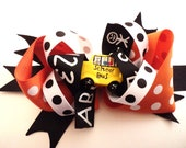 "Large Back to School Boutique Hair Bow -  5"" Stacked Bow - Orange, Black and White"