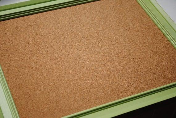 Cork Board - Lime Green Wood Frame - 11 x 14