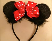 One Pair - Single Set - Glitter Minnie Mouse Inspired Ears - headband - Hot Pink and White OR Red and White Polka Dot Boutique Style Bow