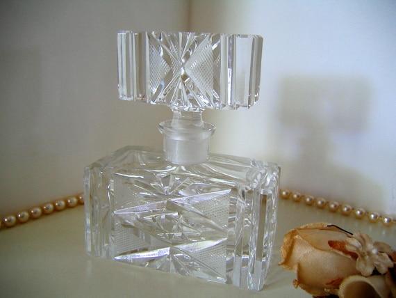 Vintage Clear Cut Crystal Cologne or PERFUME BOTTLE  Art Deco 1930s Dresser Bottle