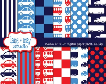 digital scrapbook papers - red, blue and navy cars, trucks and buses - INSTANT DOWNLOAD