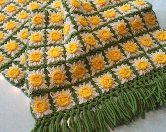 Cheerful and Beautiful hand made crochet daisy flower/floral table runner or use as a WRAP Yellow White and Green