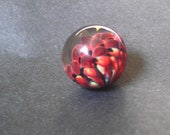 Handmade Glass Flower Marble in Red and Black, Glass Marble