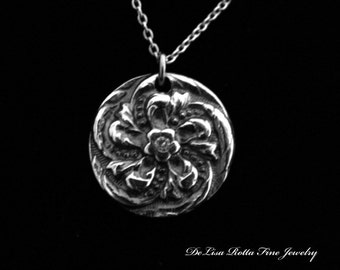 Recycled Silver, Antiqued, Flower, Pendant, Necklace, Diamond Alternative