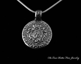Recycled Silver, Eco Friendly, Pendant, Necklace, Coin, A Mysterious History Ludovicus Rex Plures Non Capit Orbis