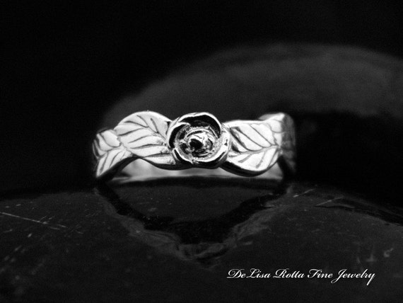 Recycled Silver Rose Leaf Fairy Wedding Engagement Promise Ring Band