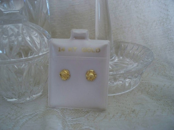 14K GOLD ROSE Flower Little Girl Pierced Earrings