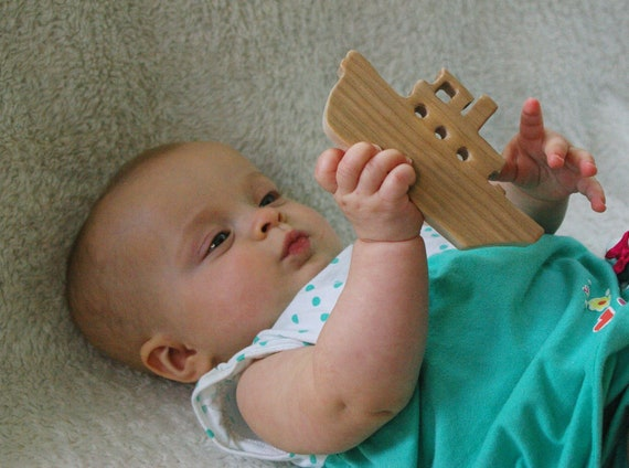 Nautical Baby Toy - Tugboat Teething Toy Eco Friendly Sustainable American Cherry or Maple