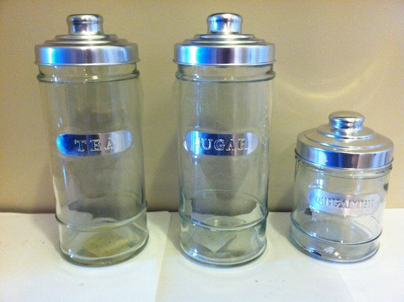 Vintage Styled Glass Kitchen Canisters: Tea, Creamer, and Sugar