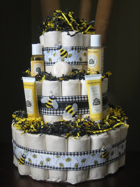 Eco Friendly Bumble Bee Diaper Cake For A Baby Shower