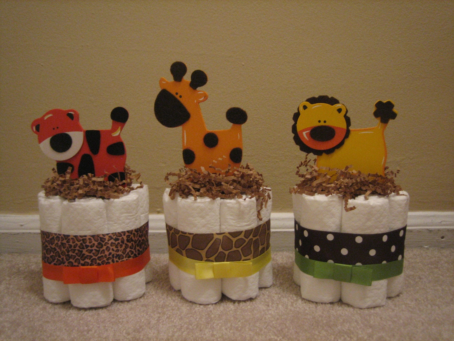Diaper Cake Centerpiece For Baby Shower : SIX Jungle Safari Mini Diaper Cakes for by ...