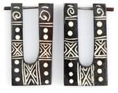 """Recycled Wood earrings - Tribal Earrings - Painted Wood """"African Warrior Princess"""" Tribal Pin Earrings - No Holes Barred Wood Earrings"""