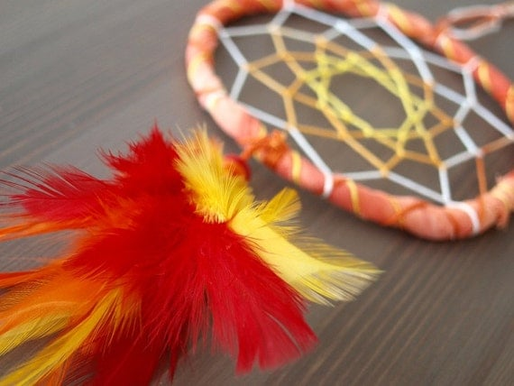 Dream Catcher - Summer Smile - With Yellow, Orange and Red Feathers, Orange Frame and Nett - Home Decor, Mobile